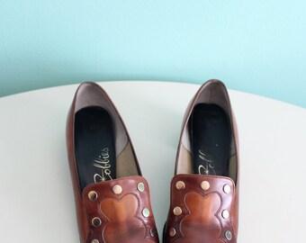 50s Brown Caramel Shoes / Mod Pumps / 1950s Shoes / Vintage Shoes / Size US 6.5 - 7