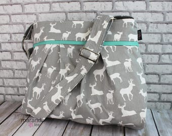 Stella Diaper bag - Large - Grey Deer  with Mint -READY to SHIP Adjustable Strap Elastic Pockets Attaches to Stroller