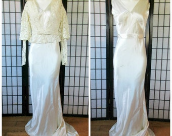Vintage 30s Wedding Gown 1930s Bride Silk Charmeuse with Lace Jacket Off White Ivory Formal Bias Cut Dress Gala Maxi 34 S M