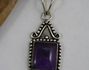 Rectangle shaped Amethyst Pendant - Item 250