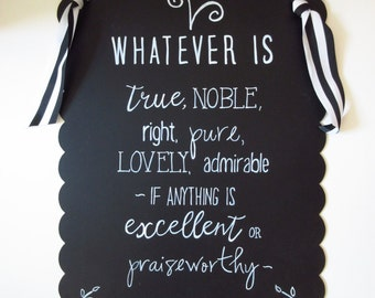 Whatever Is True WORD Art Wall Art Christian Home Decor - Black and White Chalkboard