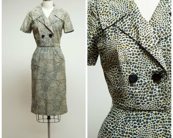 Vintage 1950s Dress • Something Sassy • Leopard Print Cotton 50s Dress Size Small