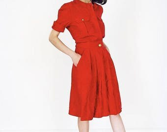 80s Red Cotton Midi Shirt Dress