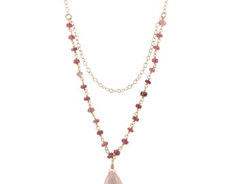 Pink Tourmaline and Rose Quartz Layer Necklace, #6413-yg