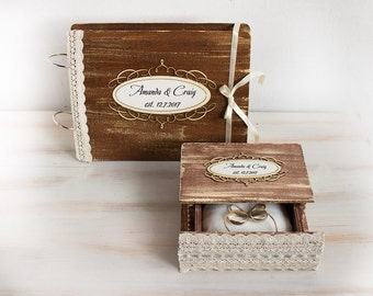 Personalized Wedding Box & Custom Guestbook Rustic Wedding Set of 2 Ring Bearer Box Guest Book Wedding advice book Vows Book Wedding Book
