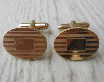 Vintage Gold Cufflinks. Anniversary, Groomsmen, Wedding, Men's Christmas Gift, Dad.