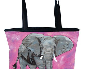 Elephant Large Handbag - From My Original Painting, Kelly - Support Wildlife Conservation, Read How
