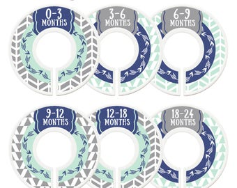 Closet Dividers, Baby Closet Dividers, Toddler, Days of Week, Closet Organizer, Arrows, Tribal, Woodland, Baby Shower Gift, Navy, Mint, Grey