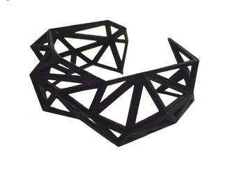 geometric bracelet- Triangulated Cuff in Black - Matte Finish. 3d printed. modern jewelry