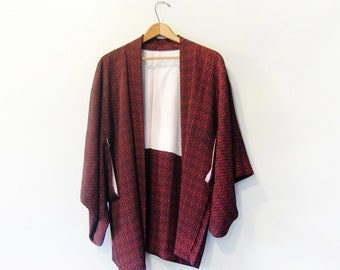 Vintage Japanese Haori / Kimono Jacket Traditional Black / Red