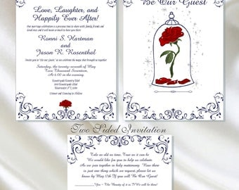 dyi digital enchanted rose beauty and the beast wedding invitation be our guest wedding invitation - Beauty And The Beast Wedding Invitations