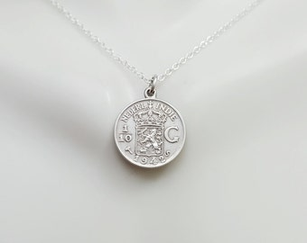 Antique Silver coin necklace. 1942 Dutch East Indies silver coin pendant. Coin jewelry. Netherlands necklace. Dutch lion necklace. Indonesia