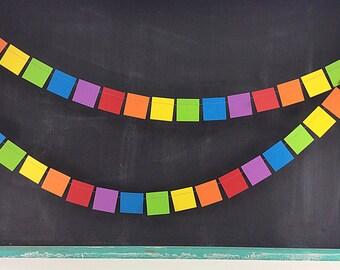 Rainbows Squares 6ft. Garland: Rainbow Birthday Party, 1st Birthday Boy, Painting Party Decor, Noah's Ark Party, Classroom Decor