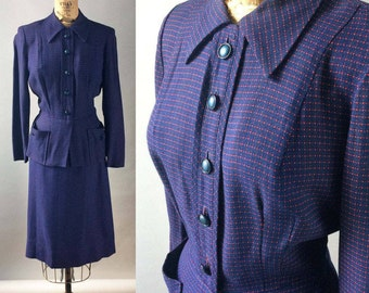 Fabulous Vintage 1940s Wool Gabardine Navy and Red Checkered Jacket and Skirt Two Piece Women's Suit