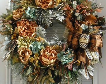 Elegant Winter Wreath Large French Country Silk Floral Front Door Decoration After Christmas Luxe Grapevine Fireplace Copper Teal Blue