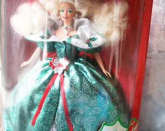 Vintage Happy Holidays Barbie Doll / 1995 Blonde Hair Green Dress / Christmas Barbie / Special Edition / NOS / NIP