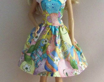 Handmade Barbie Clothes-Multi-Colorerd Easter Egg Print Barbie Dress