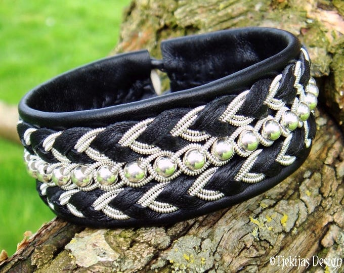 BESTLA Black Viking Leather Cuff | Swedish Sami Bracelet w. Sterling Silver beads and Pewter Braids | Custom Handmade to your size and color