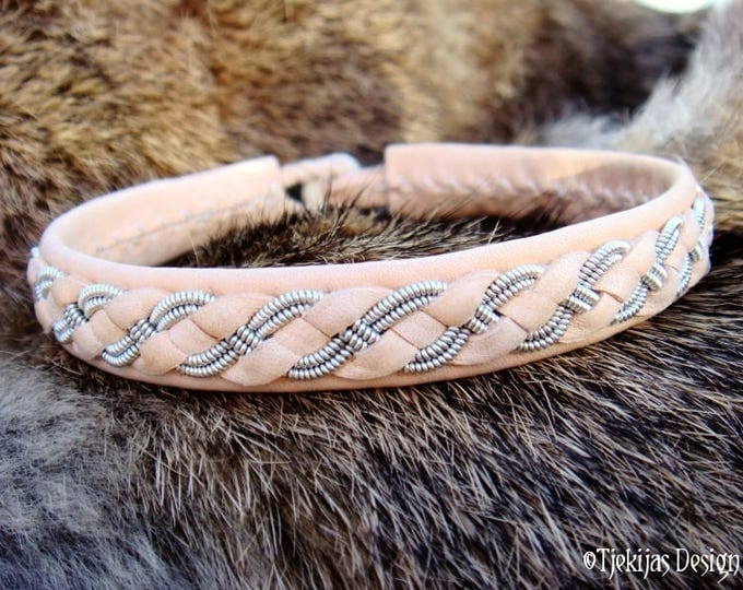 Personalized Leather Bracelet Cuff FENRIR Unisex Sami Bracelet Bangle in silksoft Natural Reindeer Leather decorated with Pewter Braid