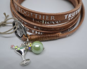 Humanity For All Freedom Light Brown Color Leather Wrap Martini Drink Charm Bracelet