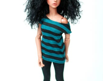 Minifee Teal And Black Striped Top For Slim MSD BJD