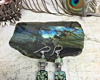 Green Earrings - Green Jewelry, Bottle Green Gifts, Jonquil Earrings, Womens Earrings, Earrings Sensitive Ears, Friendship Gifts, Spring