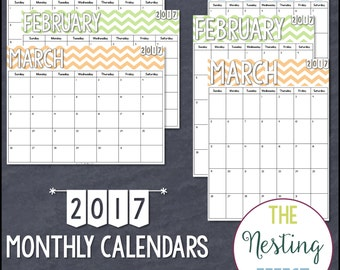 2017 Chevron Monthly Calendars - Instant Download PDF