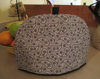 Tea cozy, tea cosy, teapot cover, black and white, paisley, contemporary, traditional,  large tea cozy