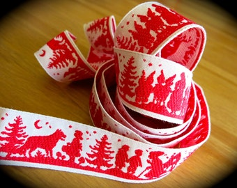Fairy Tale Embroidered Ribbon-Red & White Trim-1 in. wide-Snow White, Hansel and Gretel, Little Red Riding Hood Ribbon-German-Folk Pattern