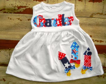 4th of July Dress, Available in Short Sleeved or Sleeveless, 3-6m to 8yrs