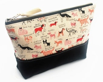 Dog Zipper Pouch, Linen Cosmetic Bag, Metal Zipper with Waxed Canvas Base, Black