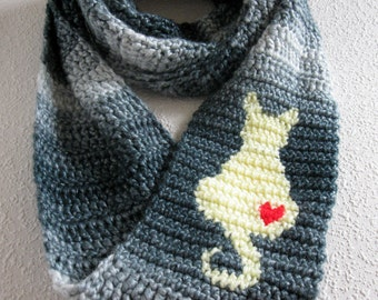 Infinity Cat Scarf. Denim color, crochet scarf with a yellow cat silhouette and red heart. Sitting cat, circle scarf. Kitty cat gift