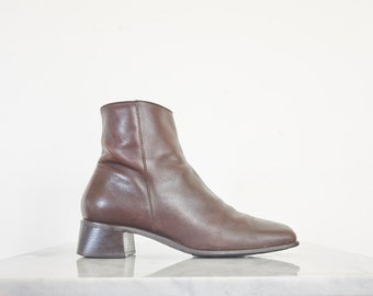 90s Minimal Square Toe Brown Leather Boots / Women's Size 6.5 US - 4.5 UK - 37 Eur