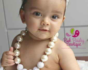 Ivory Pearl necklace, Chunky necklace, Ivory baby necklace, Baptism necklace, girls necklace, Christening Necklace, Baptism Jewelry