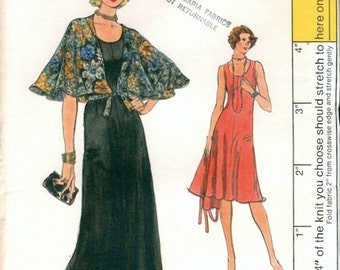 Fab Uncut Vintage 1970s Very Easy Vogue 9063 Maxi Evening or Day Sleeveless Flared Knit Dress and Capelet Sewing Pattern B34