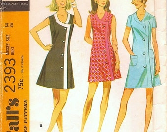 Fab Mod Uncut Vintage 1970s McCall's 2393 A Line Side-Wrap Mini or Regular Dress in 3 Versions Sewing Pattern B36