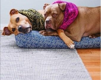 Navy Waterproof Dog Bed. Large Dog Bed.  Washable small dog bed.  Indigo modern handmade dog bed. Herringbone dog Bed. Tribal Print Dog Bed.