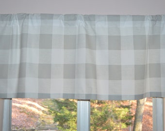 Kitchen Valance . Buffalo Plaid Premier Prints French Gray .  Large Check Tiers .  Handmade by Pretty Little Valances