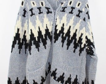 Blue, Black and Cream Cowichan Sweater