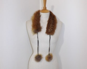Vintage 1970s real red fox fur collar with pom pom tie detail