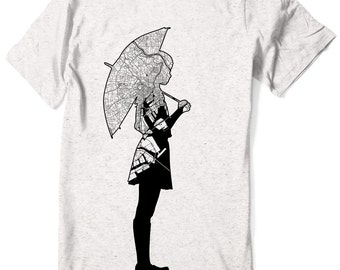 Map Tokyo T-Shirt Japanese Shirt school girl manga anime umbrella - Men - Women sizes -  Hand Screenprinted