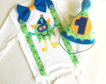 Party Monster First Birthday Baby Boy Outfit. Bodysuit and Party Hat 1st birthday