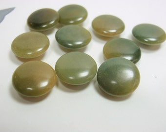VI Buttons, Lot of 10 Small 10mm Vintage Varigated Green Vegetable Ivory Buttons