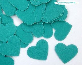 Turquoise Heart Confetti  - 100 pcs - Scrapbook Embellishment, Table Decoration, Card Making, Tag Making