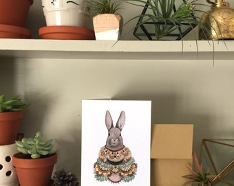 Collector: Rabbit // Blank Art Card // Woodland Illustration