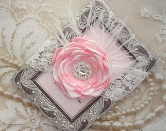 Over the top Pink and White Princess Headband with a pearl centered satin handmade flower, rhinestone appliqué, feathers, Lil Miss Sweet Pea