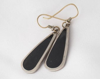 Laurel Burch Earrings - Black Enamel and Silver - Contemporary Style Vintage 1970s