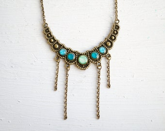 Resin Necklace in Mint and Teal Greens