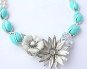 Daisy Necklace, Aqua Necklace, Recycled Jewelry, Upcycled Necklace, Thermoset, Flower Necklace, Flower Jewelry,Statement Necklace,Repurposed