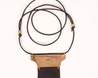 Leather fringe and wide bronze amulet necklace | SUMMITT
